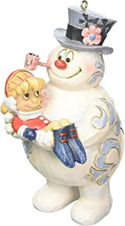 """Jim Shore """"Frosty the Snowman"""" Frosty Holding Karen Stone Resin Hanging Ornament, 4.5"""""""