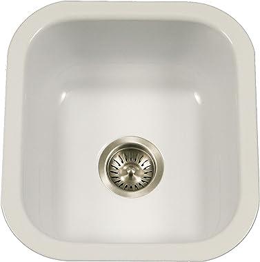 Houzer PCB-1750 WH Porcela Series Porcelain Enamel Steel Undermount Bar/Prep Sink, White