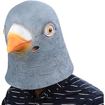 アニマルマスク ハト マスク 仮面 お面 コスチューム マスク パーティー 衣装 雑貨 コスプレグッズ 鳩 鳥 マスク (グレーブルー)