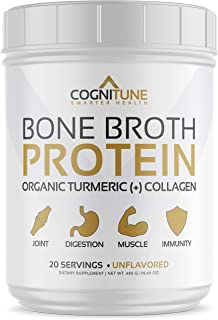 Bone Broth Protein Powder -Natural Flavor- with Organic Turmeric & Collagen Peptides - Natural Grass Fed Beef - Keto & Pal...