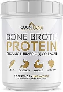 Bone Broth Protein Powder - Organic Turmeric & Collagen Peptides Unflavored - Premium Natural Grass Fed, Keto & Paleo Friendly Nutrition, Non-GMO, Gluten Free - Supports Joints & Gut Health - 16.42oz