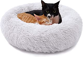 Pets Calming Bed Dog Bed(50CM, Light Grey),Proxima Direct Ultra Soft Cat Cushion Bed Round Nest Fluffy Plush Bed Donut Cud...