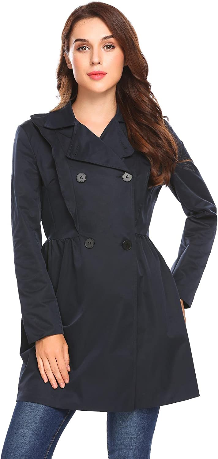 Soteer Women's DoubleBreasted Trench Coat Long Wind Jacket with Belt