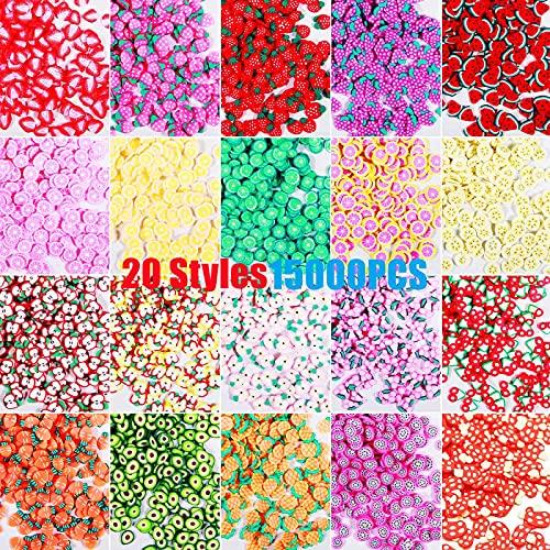 15000Pcs Fruit Nail Art Slices, 20 Styles Assorted Fruit Fimo Slices for Nails Art Lip Gloss Slime Resin Decoration, 3D Fruit Polymer Slices Nail Art Resin Lip Gloss Slime Fruit Charms