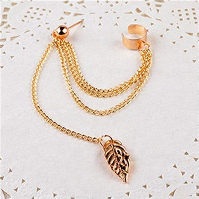 SHOYY 1pcs Earrings Fashion Personality Metal Ear Clip Leaf Tassel Earrings for Women Gift Pendientes Ear Cuff Caught in Cuffs (Metal Color : Gold)