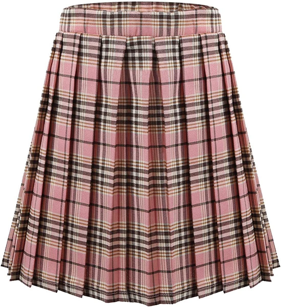 Oyolan Kids Girls Pleated Plaid Skirt School Uniform Tartan Skirt Scottish Style A-Line Pull-On Skirt with Elastic Waistband