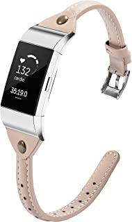 Wearlizer Slim Guneine Leather Watch Band Compatible with Fitbit Charge 2, Charge 2 hr Accessories Replacement Wristband Strap Bracelet for Men Women Small Large T Type Beige