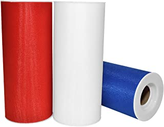 """Morex Ribbon Patriotic Tulle 3 Pack, Nylon, 6"""" by 75 yd Total, Red/White/Blue, Item 1366p3-914"""
