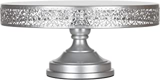 Amalfi Decor 16 Inch Cake Stand, Dessert Cupcake Pastry Candy Display Plate for Wedding Event Birthday Party, Large Round Metal Pedestal Holder, Silver