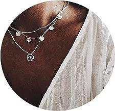 Geminilee Silver Color Multilayer Vintage Wave Pendant Necklace Women Trendy Bohemian Female Choker Necklace
