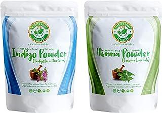 Plants & Herbs Ayurveda 100% Pure Herbal Indigo and Henna (Mehndi) Powder Dye For Natural Shades of Brown and Black Hair a...