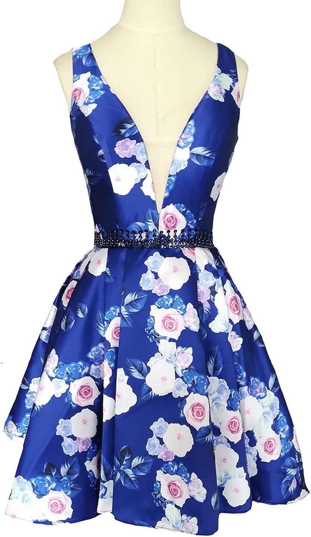 Dearta Women's ALine VNeck Short Mini Royal Floral Printed Homecoming Dresses
