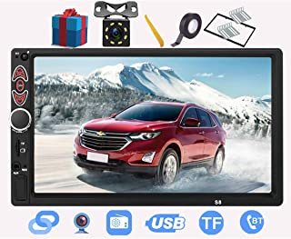 Double Din Car Stereo-7 inch Car Stereo Upgrade Touch Screen,Compatible with BT TF USB MP5/4/3 Player FM Double din car Radio,Support Backup Rear View Camera, Mirror Link