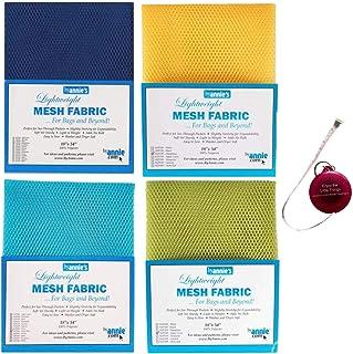 "ByAnnie's Mesh Fabric Lightweight Bundle- Blastoff Blue, Dandelion, Parrot Blue, Apple Green 18"" x 54"" with Tape Measure-B..."