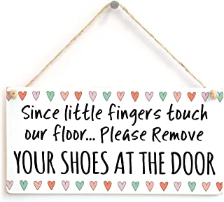 Meijiafei Since Little Fingers Touch Our Floor… Please Remove Your Shoes at The Door - Super Cute Design Welcome Plaque 10