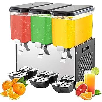 VEVOR Máquina de Dispensador de Bebida 54 L, Máquina de Bebidas Frío con Tanques 18 L * 3, Máquina de Dispensador de Jugo 350 W, Máquina de Bebidas Frías de Acero Inoxidable Temperatura 7-12℃: Amazon.es: Hogar