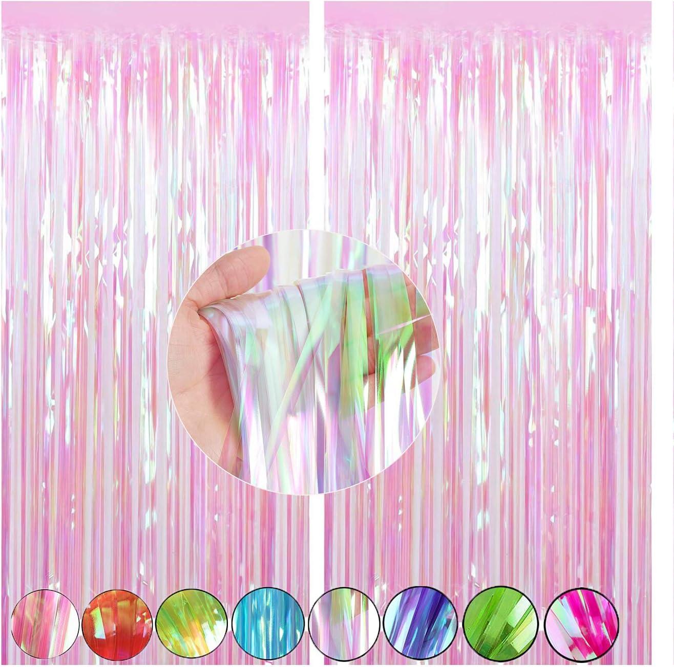 Cylmfc Folien Fransenvorhänge Party Dekorationen Regenbogen Metallic Lametta Vorhang