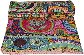 V Vedant Designs Indian Patch Work Cotton Kantha Quilt Twin Bedspreads Throw Blanket (Twin Multi Floral)