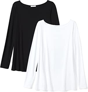 Marchio Amazon - Daily Ritual - Jersey Long-sleeve Bateau-neck T-shirt, T-shirt Donna