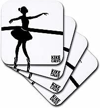 3dRose CST_123769_1 White on Black Classic Ballerina Soft Coasters, Set of 4