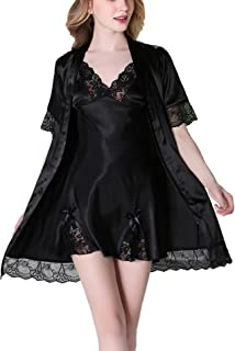 Asskyus Women's Satin Sleep Robe Kimono Gown, Lace Flower 2-in-1 Nightwear Nightdress