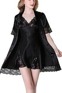 رداء نوم Askyus من الساتان ثوب الكيمونو، دانتيل زهرة 2 في 1 ملابس نوم