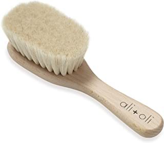 Ali+Oli Wooden Hair Brush for Newborns (Made in Germany) Includes Baby's First Mini Loofah
