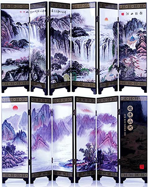 FIREBUGI 6 Panel Lacquer Small Folding Screen Decoration Home Desktop Divider Or As A Gift Landscape Painting