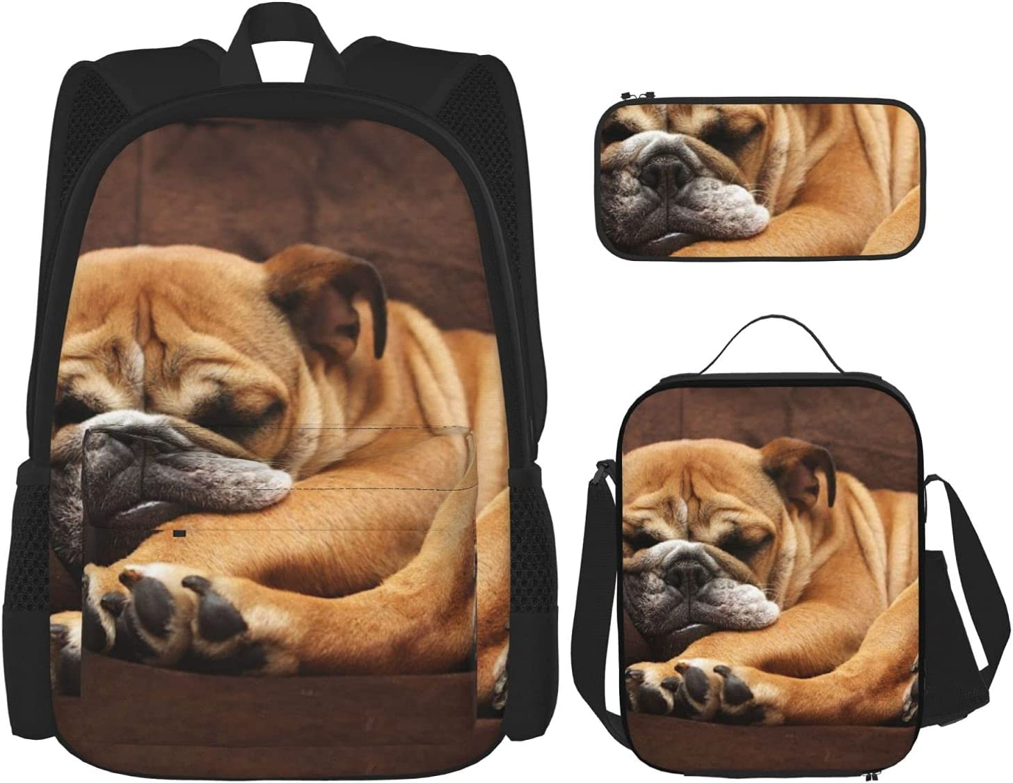 40% OFF Cheap Sale English Bulldog Puppy Dog Backpack Set F Three-Piece Combination Online limited product