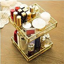 Sieraden doos sieraden opslag 360-grade draai make-up organizer for lippenstift, gouden spiegel glas bovenjurk make-up sie...