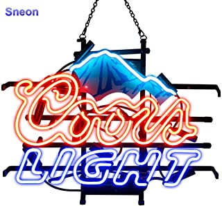 LinC Neon Sign-Neon Sign Coors Light Blue Mountain with Clear Plastic Background for Bedroom Garage Beer Bar Signs and Nightclub, Real Glass Neon Light Sign for Wall Decor Art