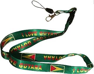 挂绳颈带项链钥匙链卡徽章夹 - 美国 可调节 Country: Guyana