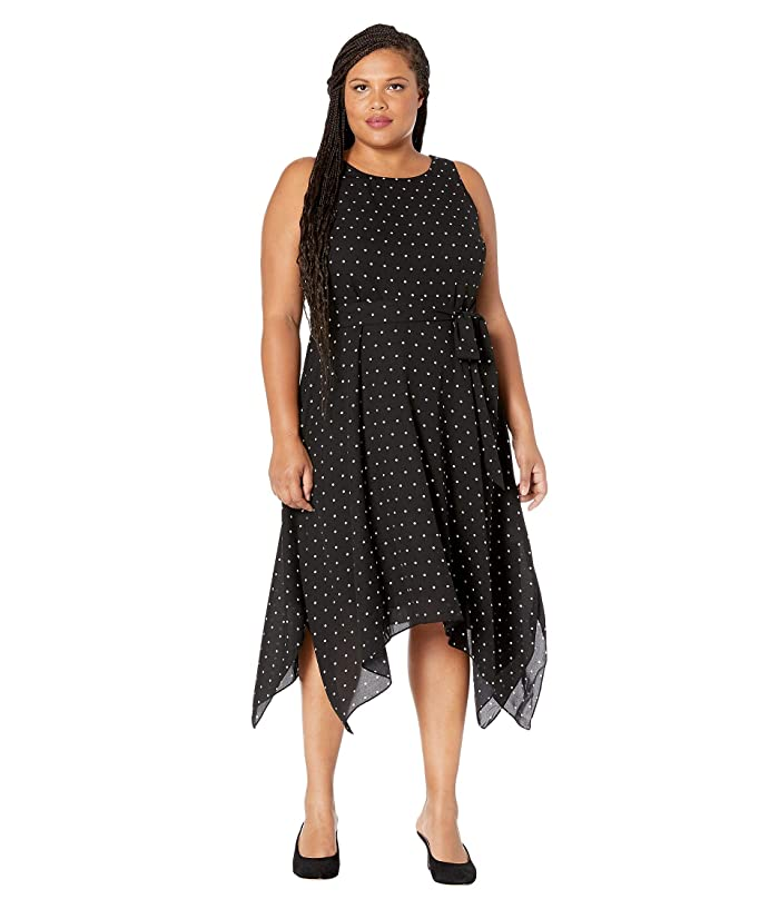 1920s Plus Size Flapper Dresses, Gatsby Dresses, Flapper Costumes Karen Kane Plus Plus Size Handkerchief Hem Dress Black Womens Clothing $66.30 AT vintagedancer.com