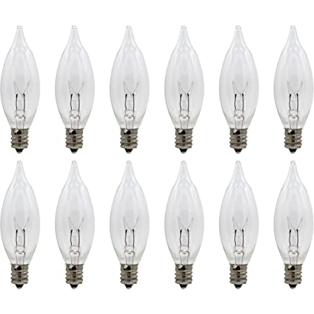Pack of 12 Clear 7 Watt Candle Bulbs for Electric Candle Lamps and Chandeliers