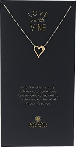 Dogeared - Love On The Vine, Heart w/ Bloom Love Charm Neckalce