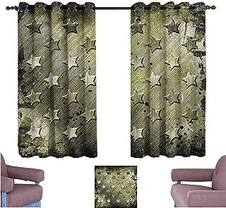 Mannwarehouse Grunge Polyester Curtain Grunge Effect Stars Darkening and Thermal Insulating 55