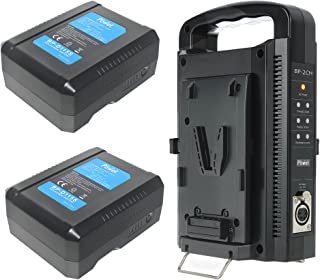 DMK Power BP-2CH Dual Quick Battery Charger and 2 X BP-D115S 14.8V 7800MAH 115WH Li-ion V mount V lock Battery Made for So...