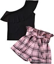 Baby Kids Clothes Off Shoulder Ruffle Sleeveless Tops Solid T-Shirt Plaid Bow Shorts 2Pcs Summer Outfit Set 6M-7Y