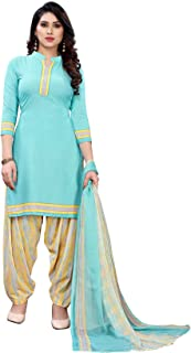 TreegoArt Fashion Women's Printed Beautiful Crepe Dress Material Unstitched Suit With Dupatta For Women -(Free Size) Sky Blue