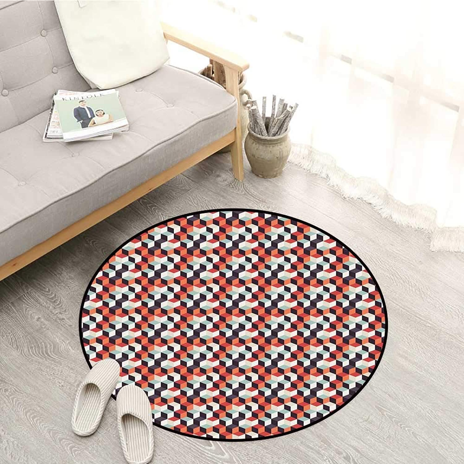Geometric Carpets Retro Cubes Flat Artsy Boxes in Corners Squares Abstract Design Sofa Coffee Table Mat 4'11  Multicolor
