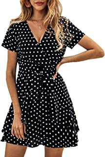 Women V Neck Short Sleeve Polka Dot A-Line Ruffle Wrap Beach Party Mini Short Dresses