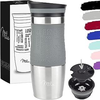 Milu Termomugg 370ml 450ml isolerad mugg kaffe mugg to go - 100% läckagesäker - dricksmugg av rostfritt stål - bilmugg dub...