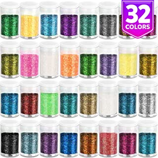 Fine Slime Glitter, Set of 32 Colors, LEOBRO Multi Purpose Glitter Powder for Arts, Crafts, Epoxy Tumblers, Decoration Weddings Cards Flowers, Scrapbooking, Body, Face, Nail, Glitter Slime Making