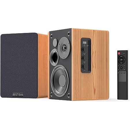 Bookshelf Speakers, BESTISAN 4inch Near Field Powerful Bookshelf Speaker, 50W Wireless Bluetooth 5.0 Audio Speakers with Built-in Subwoofer, 2.0 Stereo Speakers, Wood Speakers, Remote Control