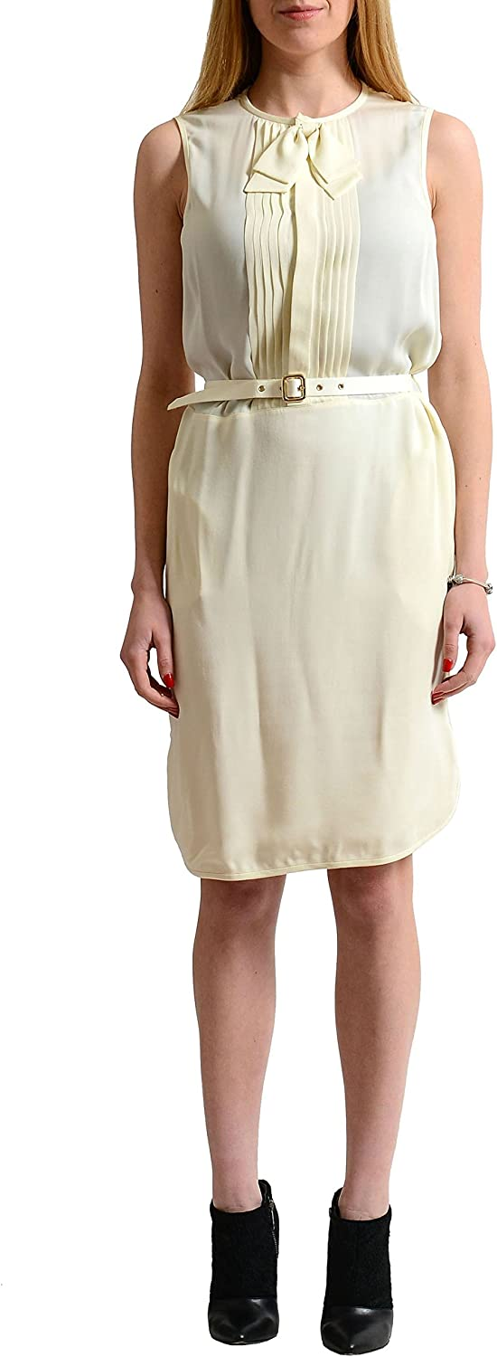 Dsquared2 100% Silk OffWhite Sleeveless Belted Women's Sheath Dress US S IT 40