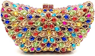 JUNfenghe Women's Colorful Luxury Diamond Peacock Feather Banquet Package Bridal Gift Wedding Clutch Metal Chain Wallet Handbag Size: 21 * 5 * 1.5cm (Color : Gold)