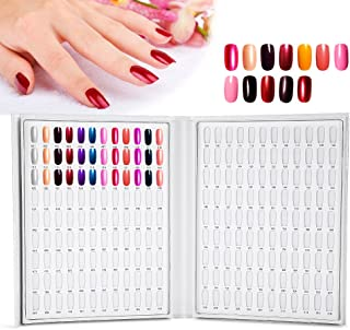 Nail Gel Display Card, 216 Colors Nail Gel Color Card Nail Polish Display Chart Book Nail Art Showing Shelf Nail Color Chart Display Book(White)