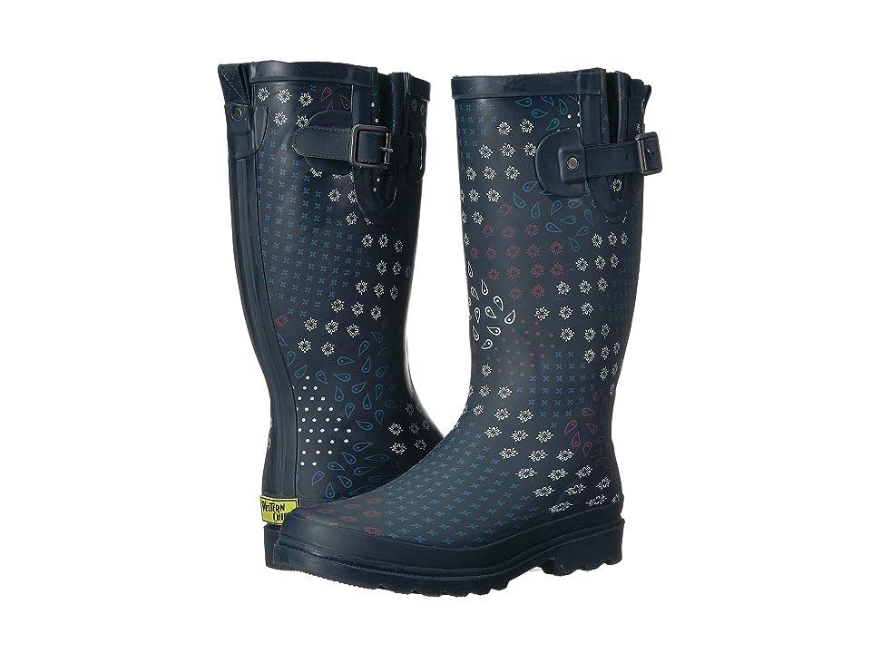 Western Chief Pretty Pattern Rain Boot (Navy) Women