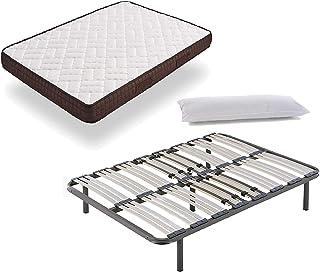 HOGAR24 ES Cama Completa - Colchón Viscobrown Reversible + Somier Multiláminas + 5 Patas de 32cm + Almohada de Fibra, 120x190 cm