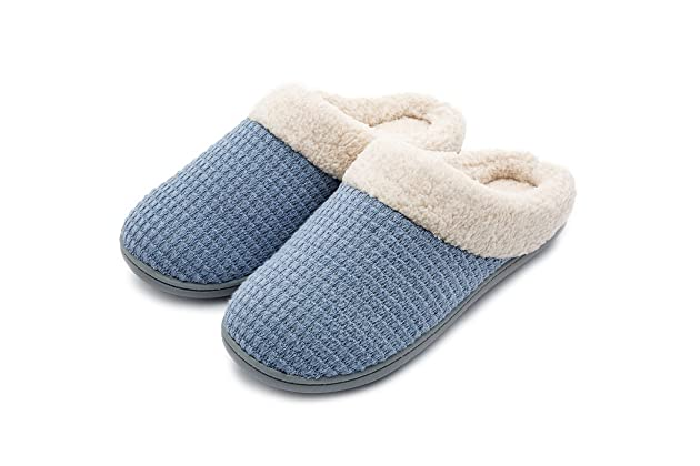 Womens Comfort Coral Fleece Memory Foam Slippers Fuzzy Plush Lining Slip-on Clog House Shoes for Indoor & Outdoor Use